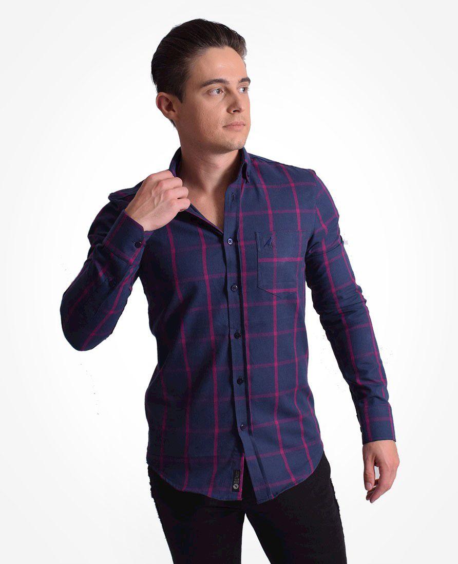 100302 - Camisa Social Masculina Slim Xadrez Roxa - LEVOK