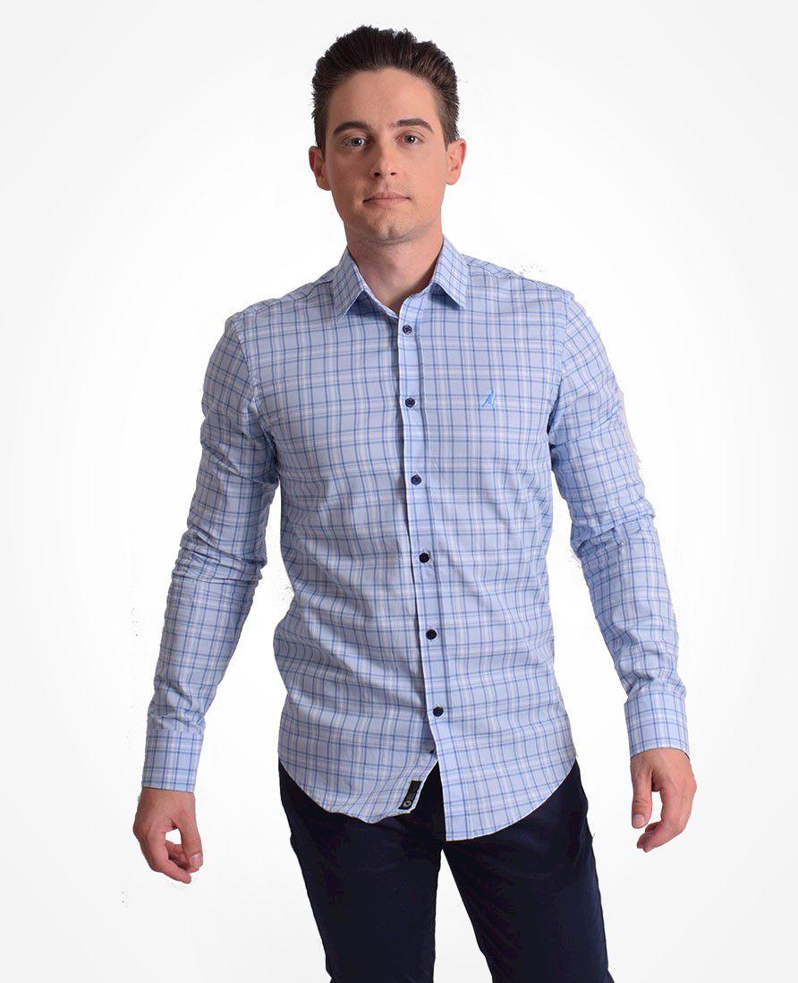 100402 - Camisa Social Masculina Slim Xadrez Azul - LEVOK