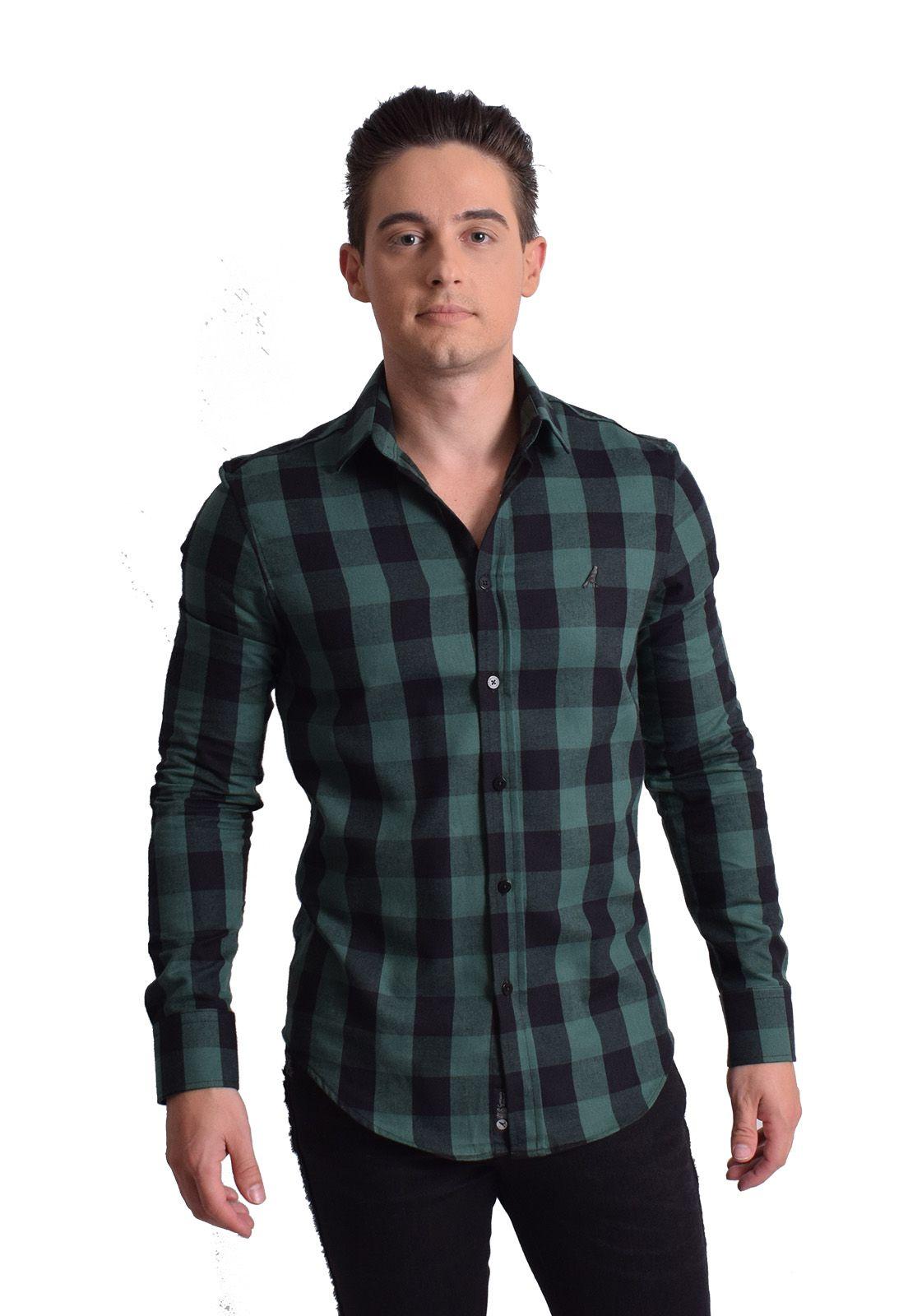 100704 - Camisa Social Masculina Slim Xadrez Verde - LEVOK