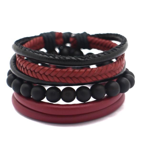 Kit 3 pulseiras masculina de Couro