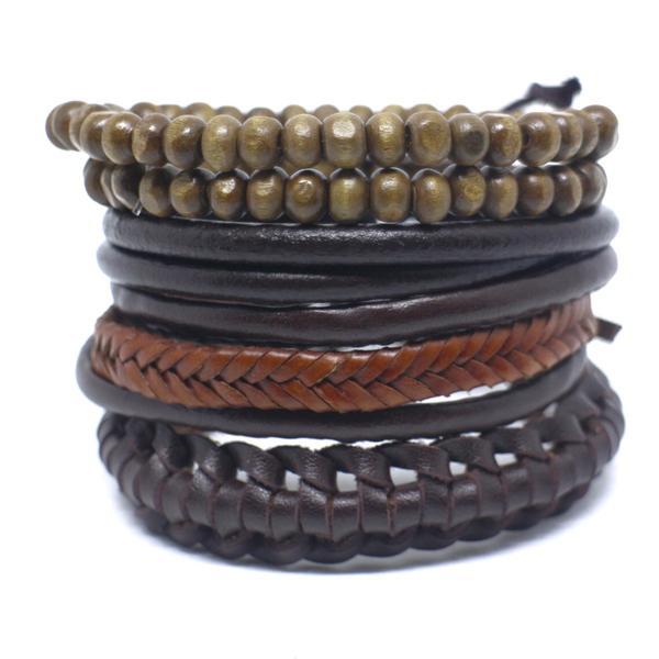 Kit 5 pulseiras masculina couro