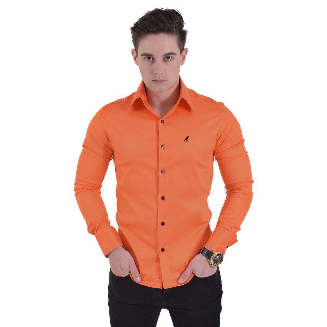 Camisa Laranja Masculina Super Slim