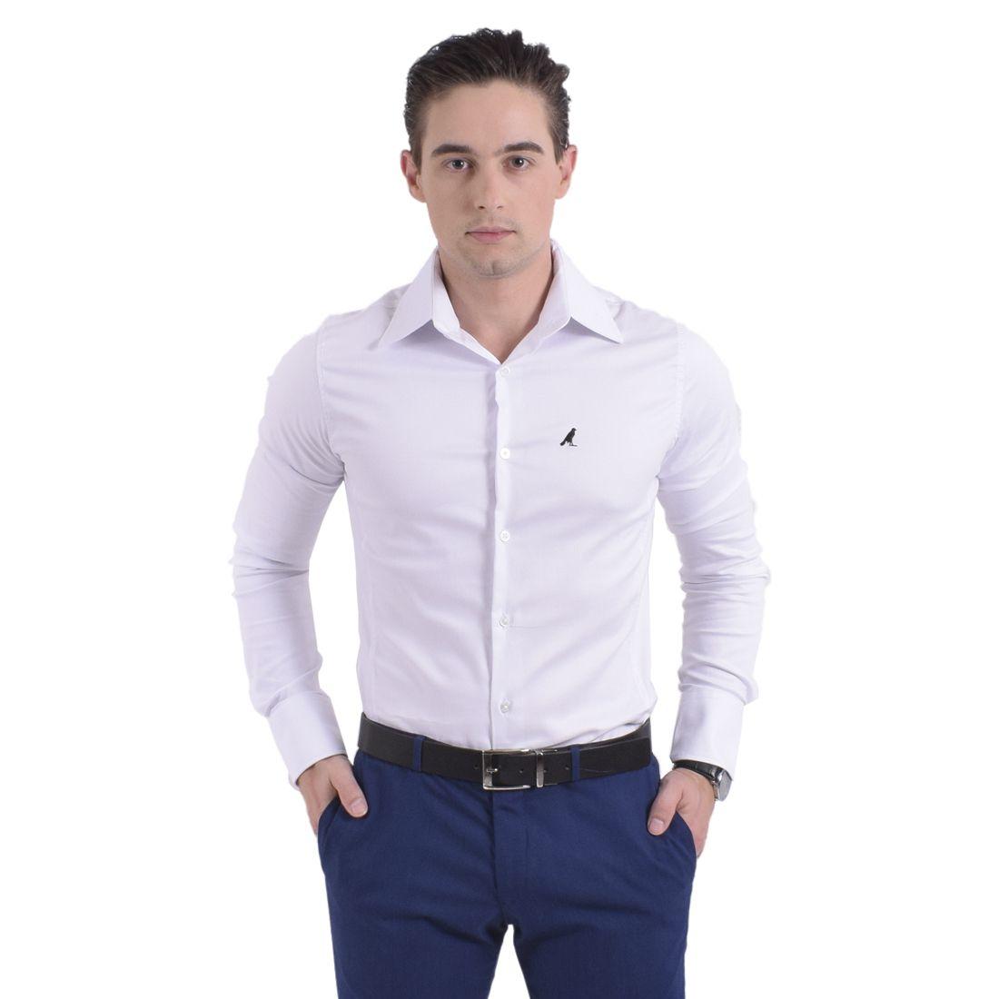 Camisa Social Branca Super Slim Masculina