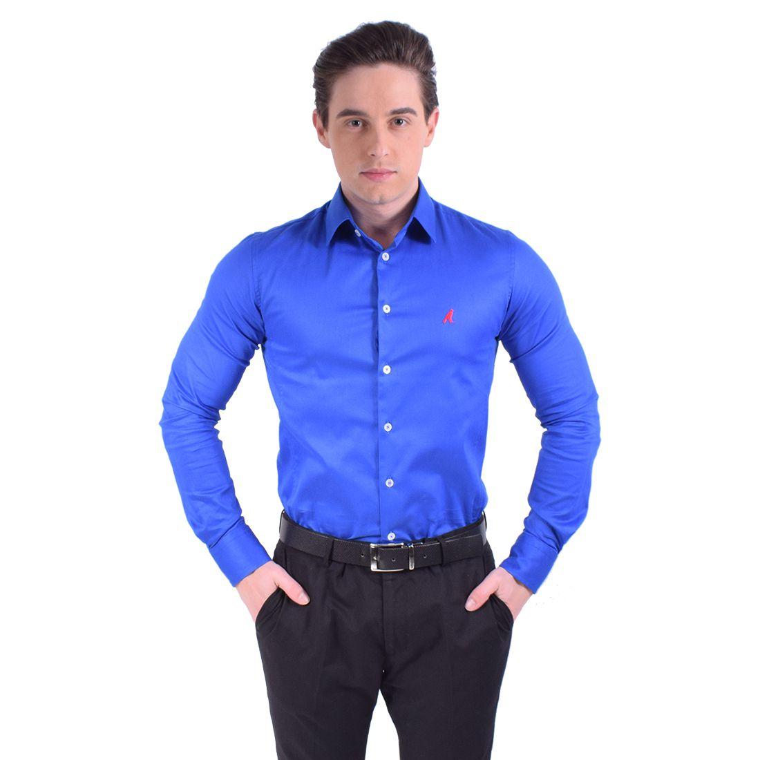 Slim e Camisa Social Azul Masculina Super Slim