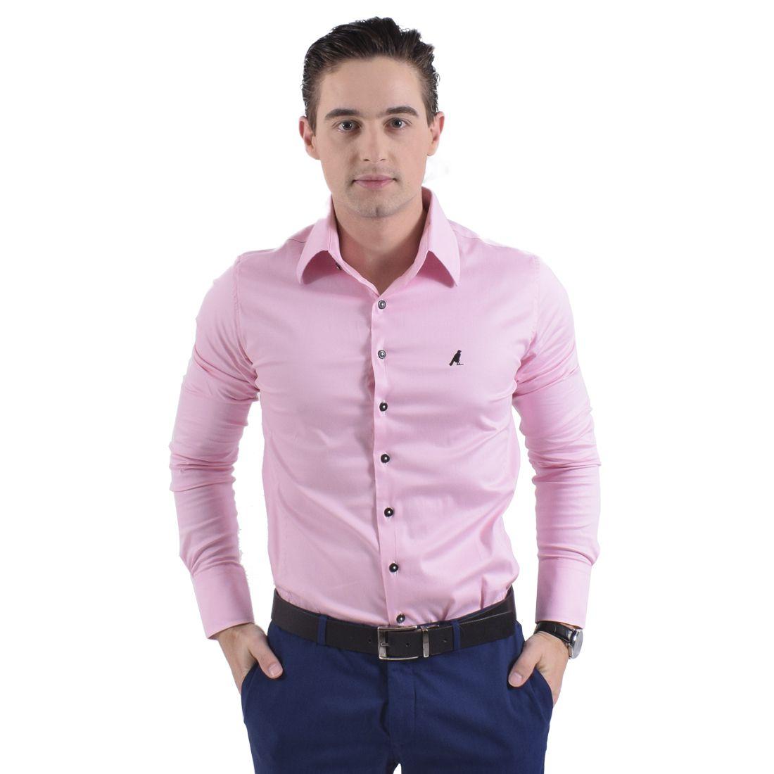 Camisa Social Rosa Masculina Super Slim