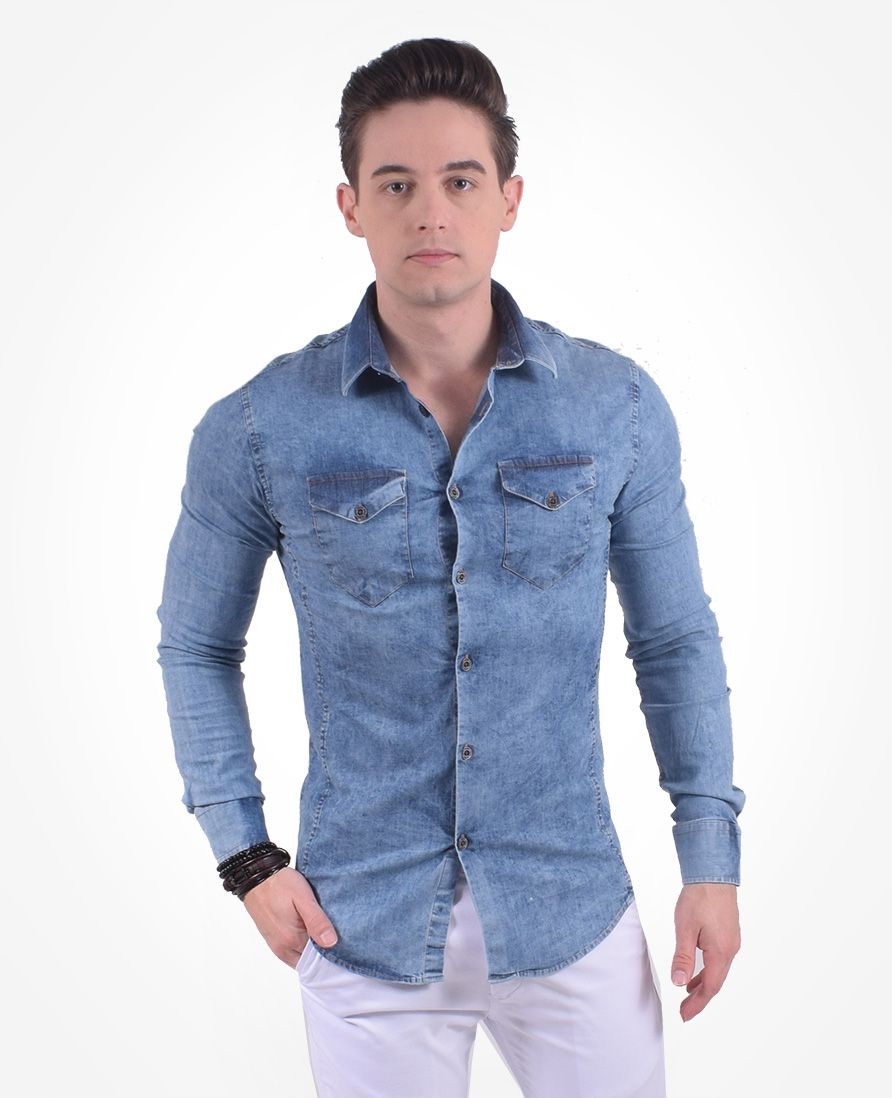 200301 - Camisa Masculina Jeans Super Slim - LEVOK