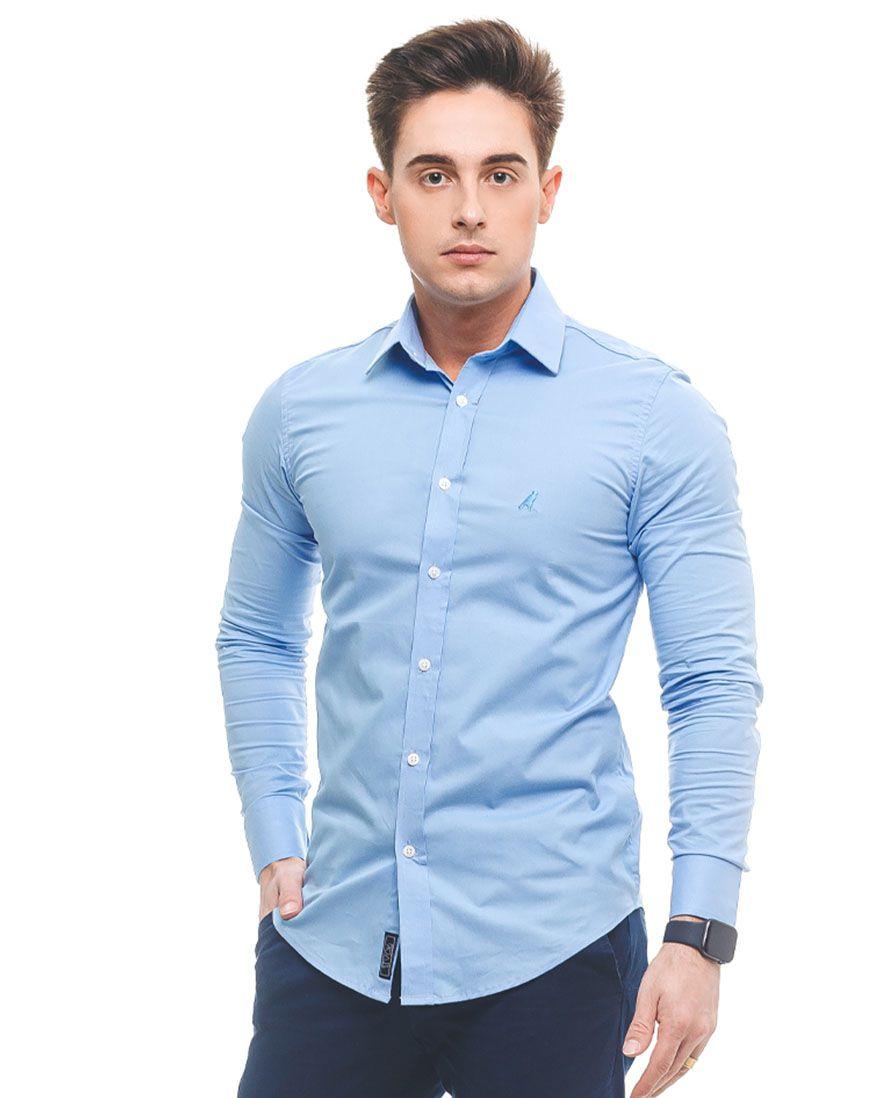 Camisa Social Azul Masculina