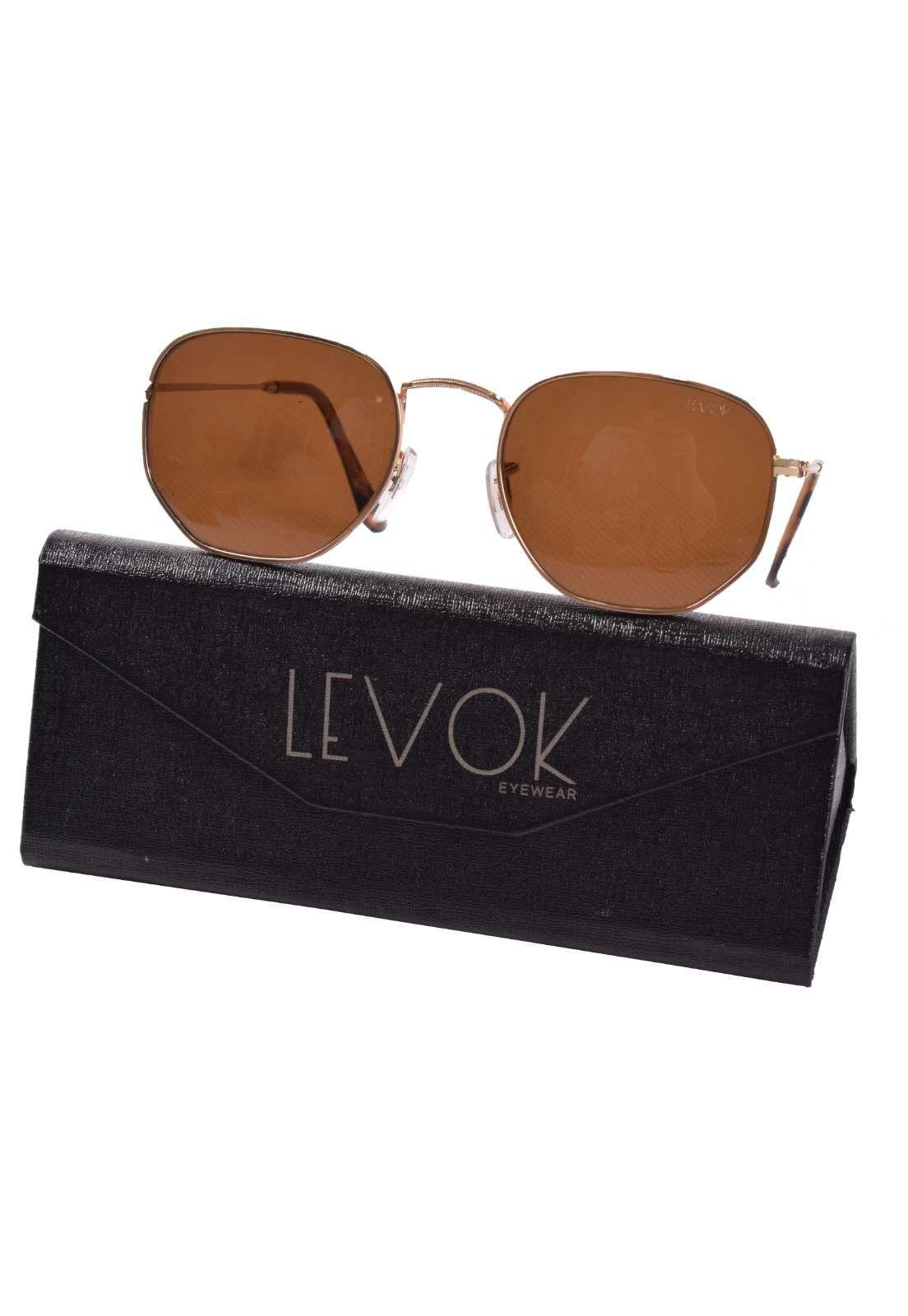 25007 - Oculos de Sol com armação fina dourada lente preta