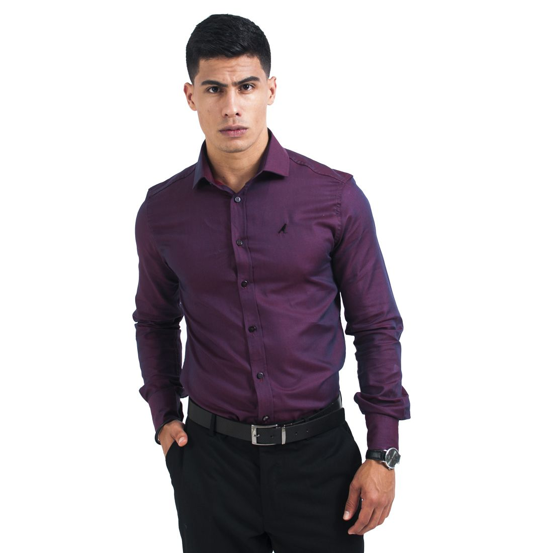 100403 - Camisa Masculina Social Slim Vinho - LEVOK