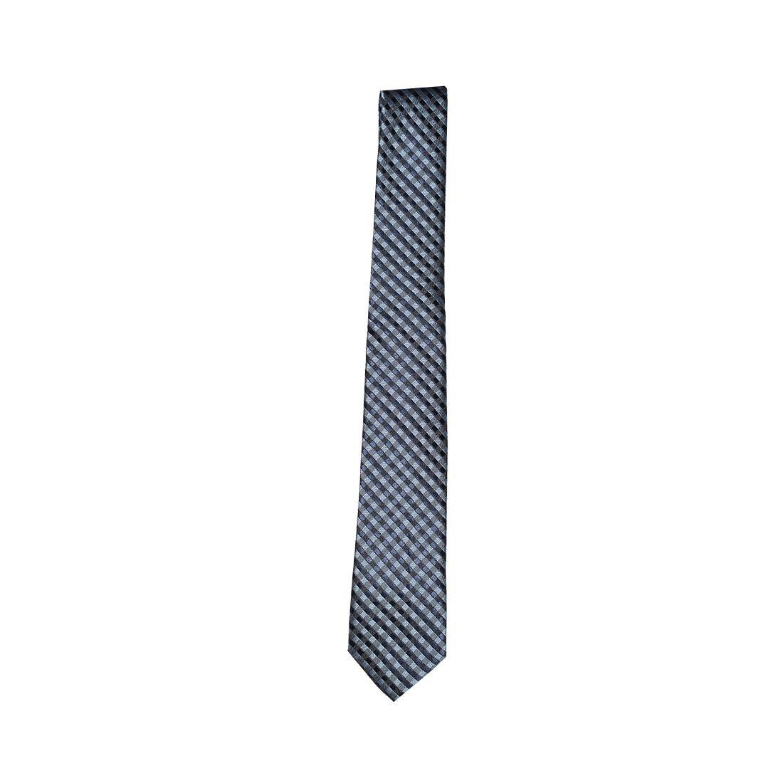 Gravata Azul Xadrez Masculina Slim - LEVOK