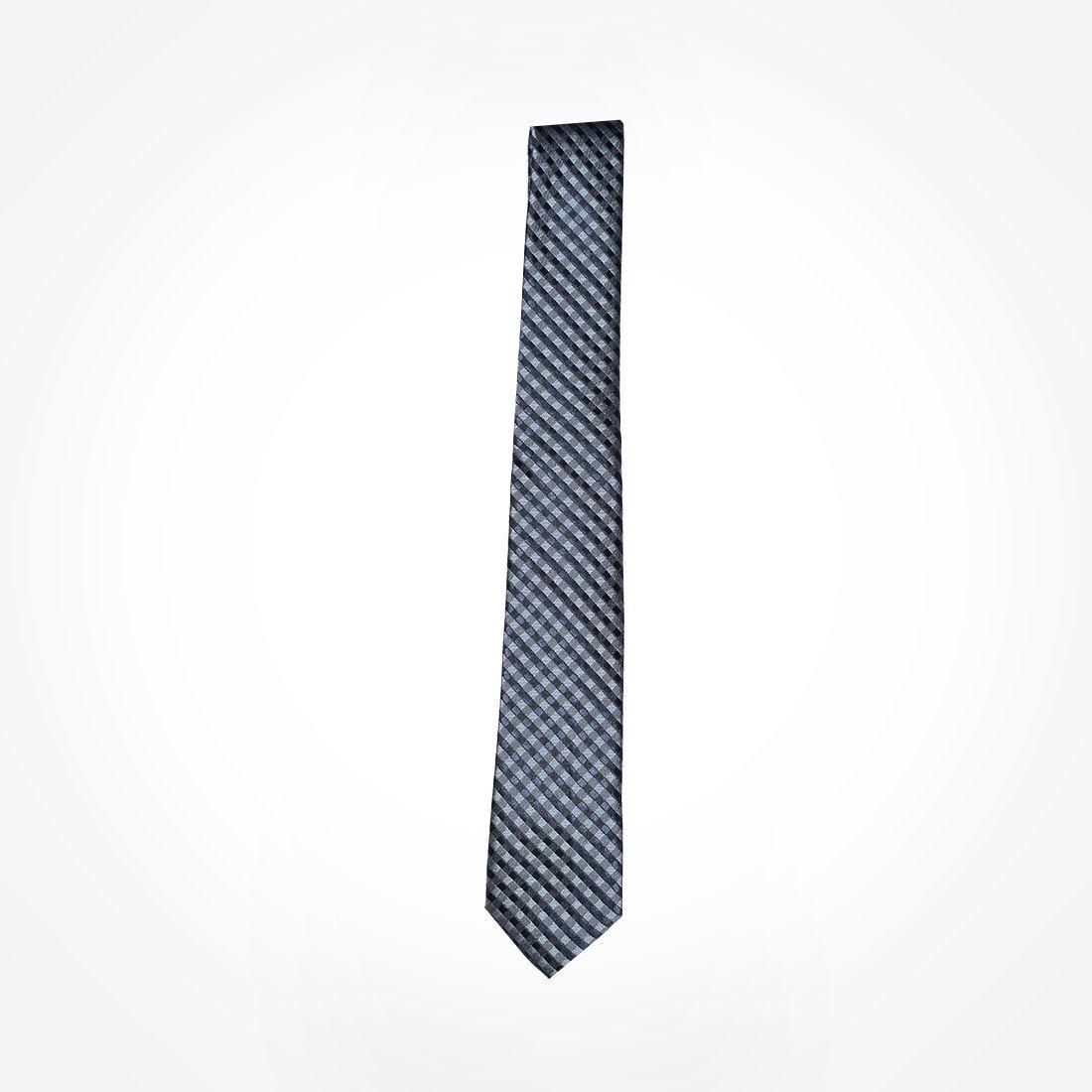 4020 - Gravata Azul Xadrez Slim - LEVOK