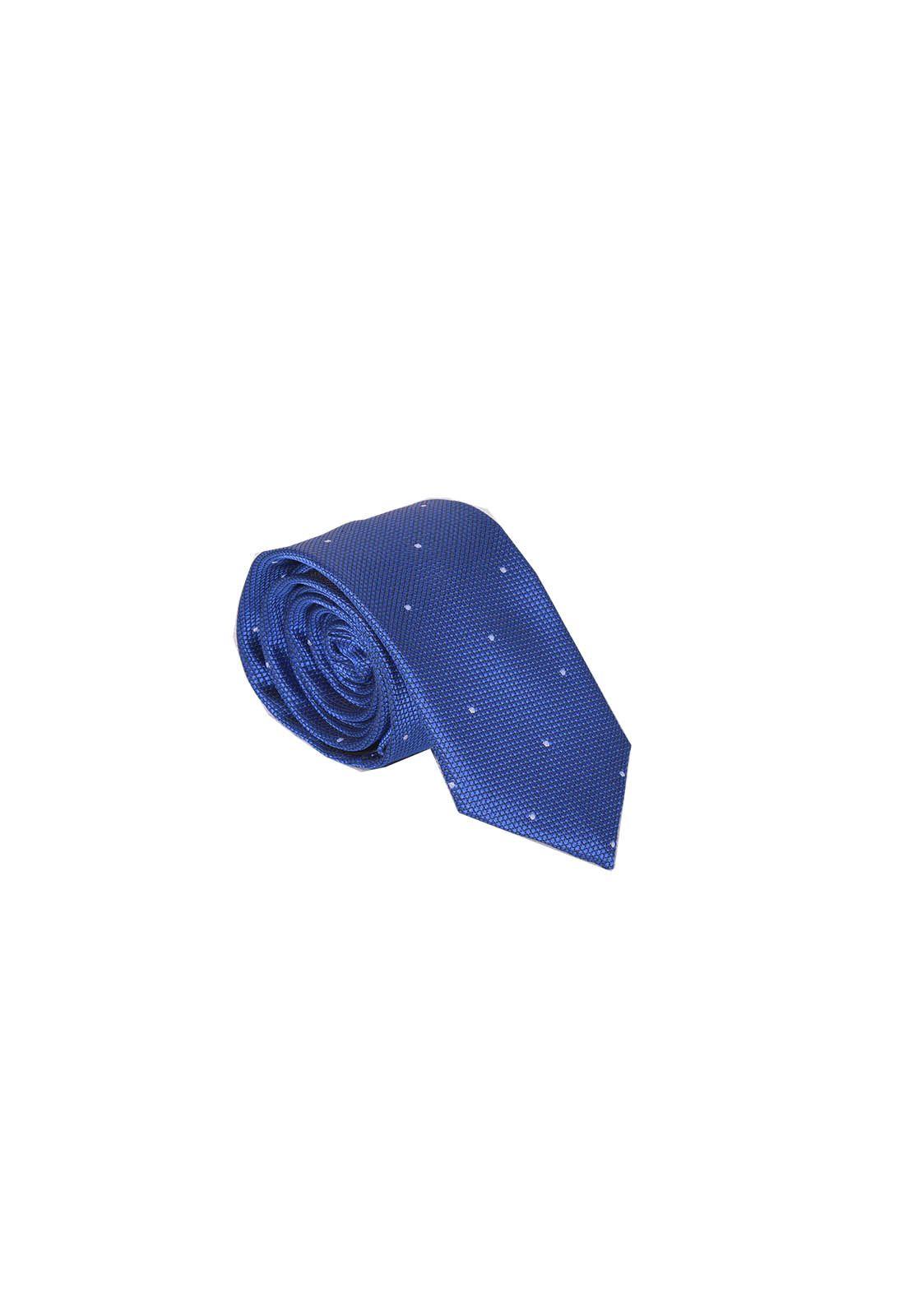 Gravata Masculina Azul com Branco Slim