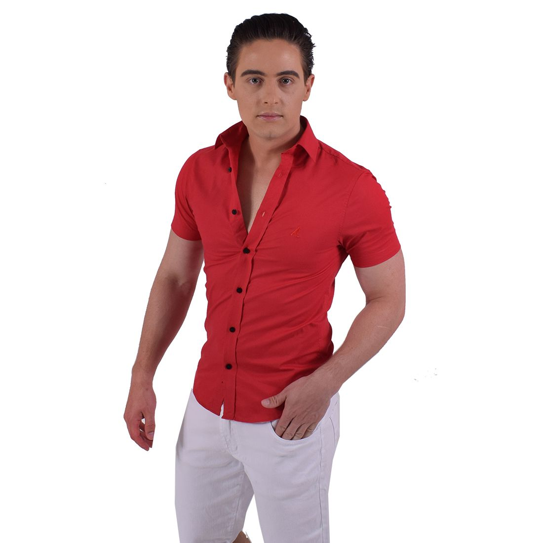 500202 - Camisa Social Manga Curta Masculina Slim Vermelha - LEVOK