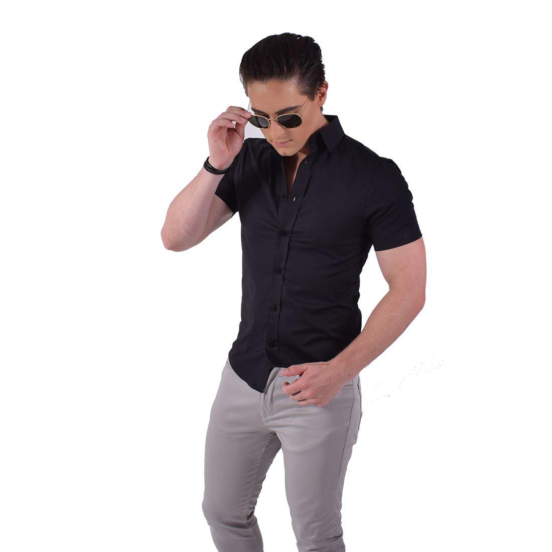 Camisa Social Manga Curta Masculina Preta