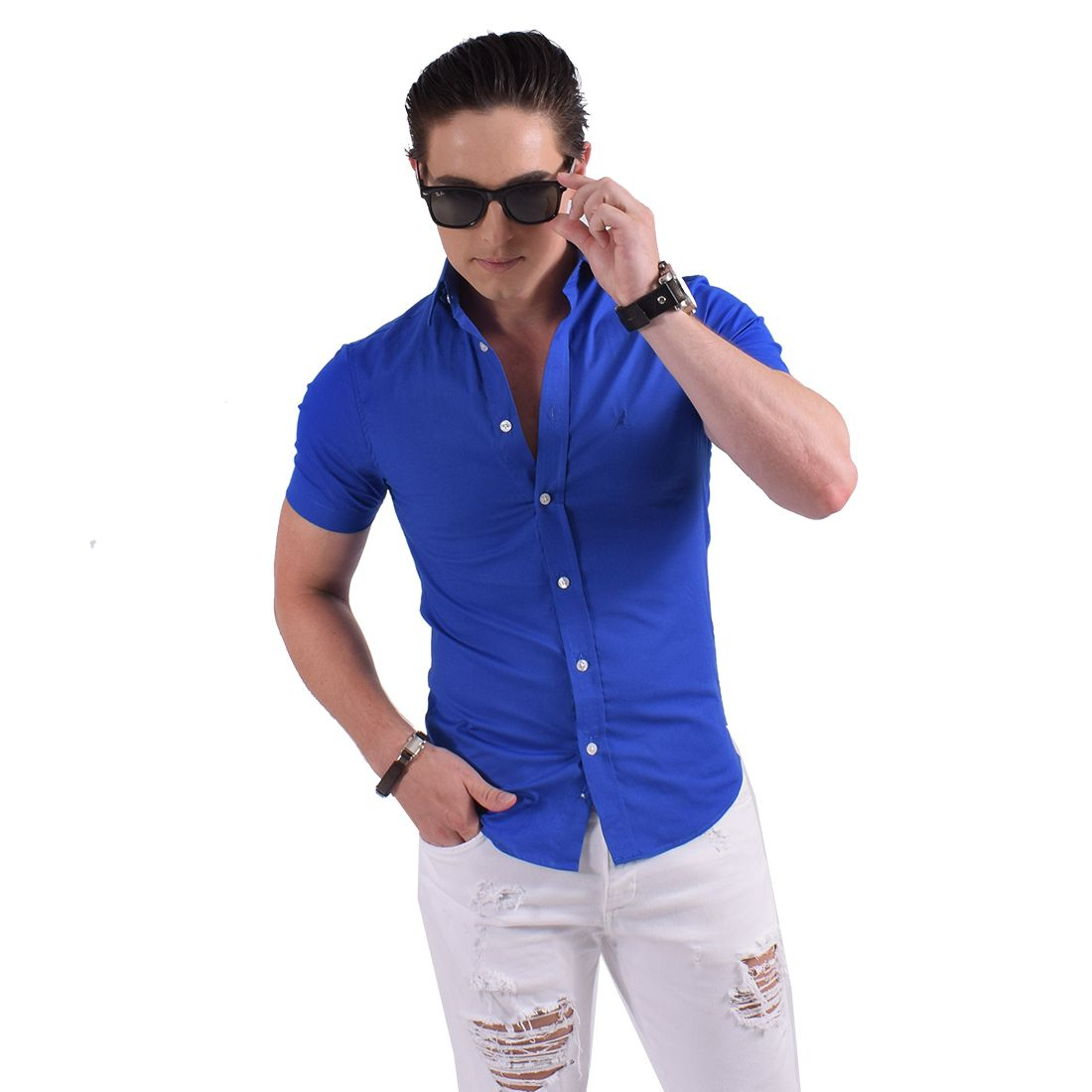 500204 - Camisa Social Manga Curta Masculina Slim Azul - LEVOK