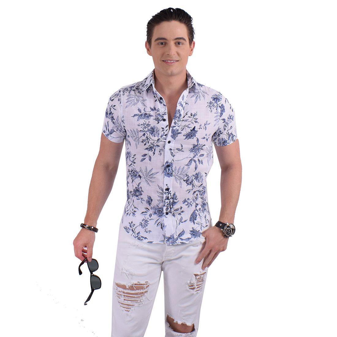 500208 - Camisa Social Manga Curta Masculina Slim Floral - LEVOK
