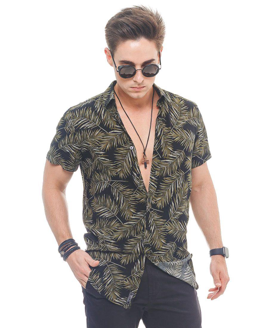 500210 - Camisa Social Manga Curta Masculina Slim Floral Verde - LVK