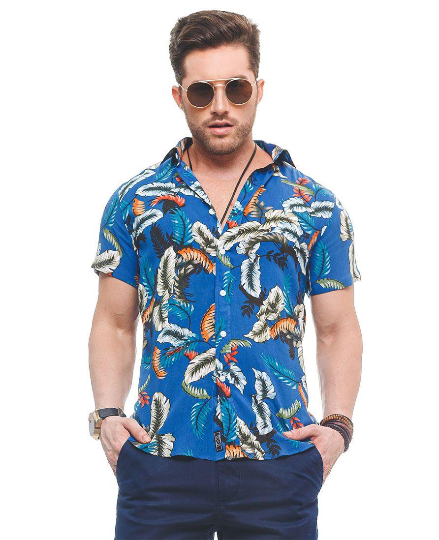 500212 - Camisa Social Manga Curta Masculina Slim Floral Azul - LVK