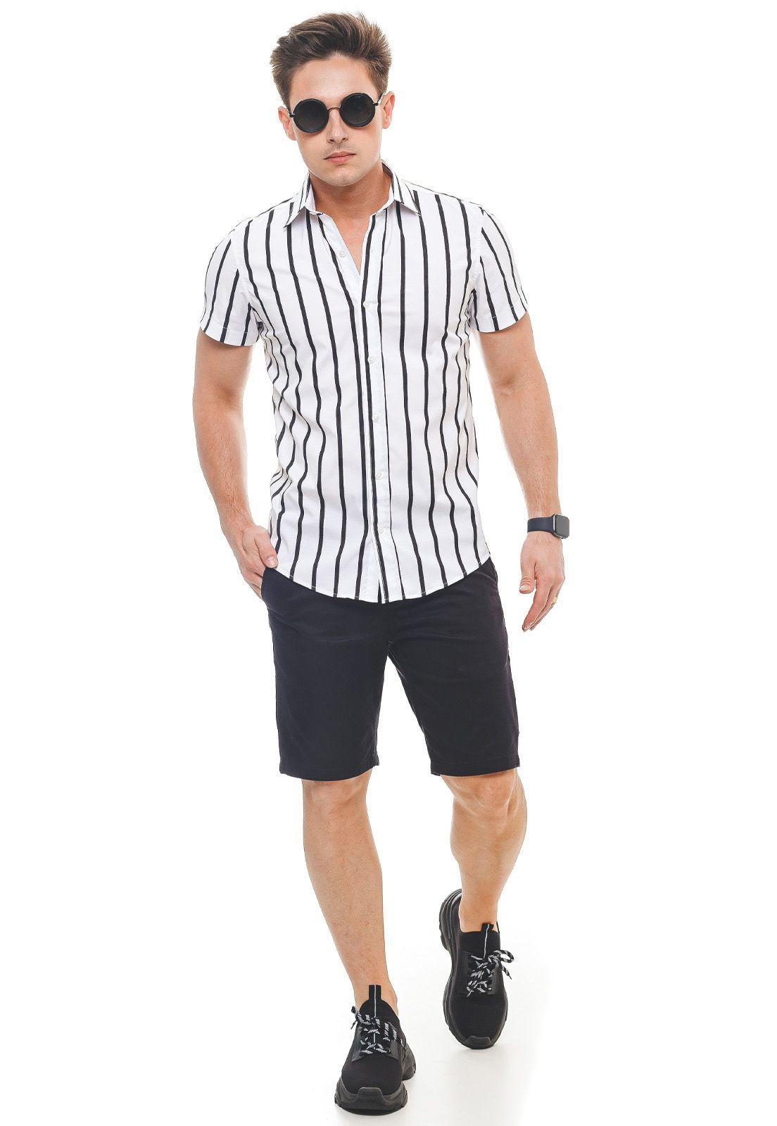 500213 - Camisa Social Manga Curta Masculina Slim Listrada