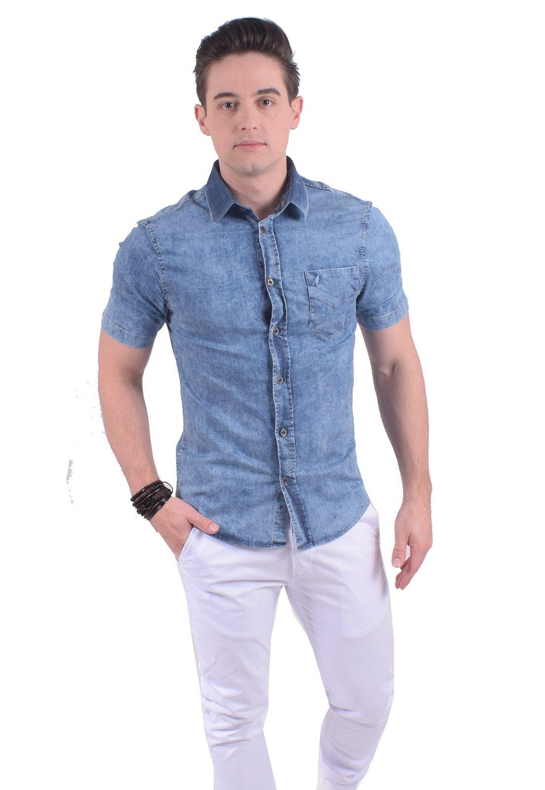 Camisa Jeans Masculina Super Slim