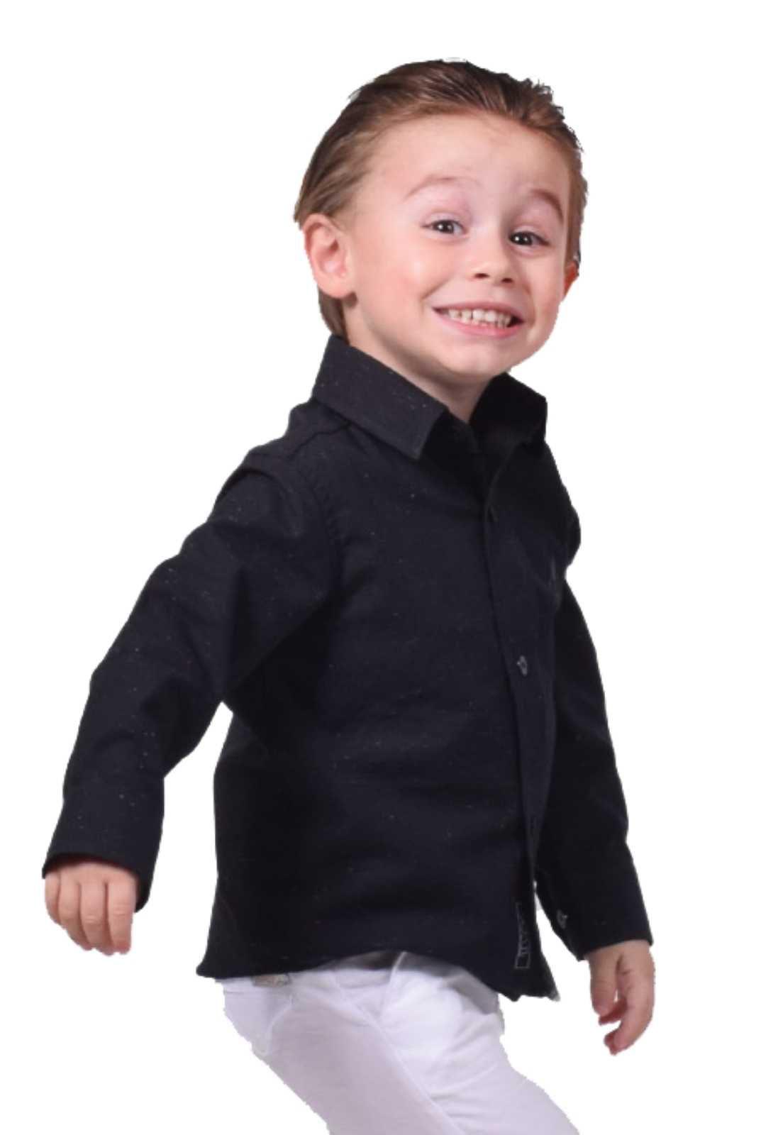 Camisa Social infantil Preta