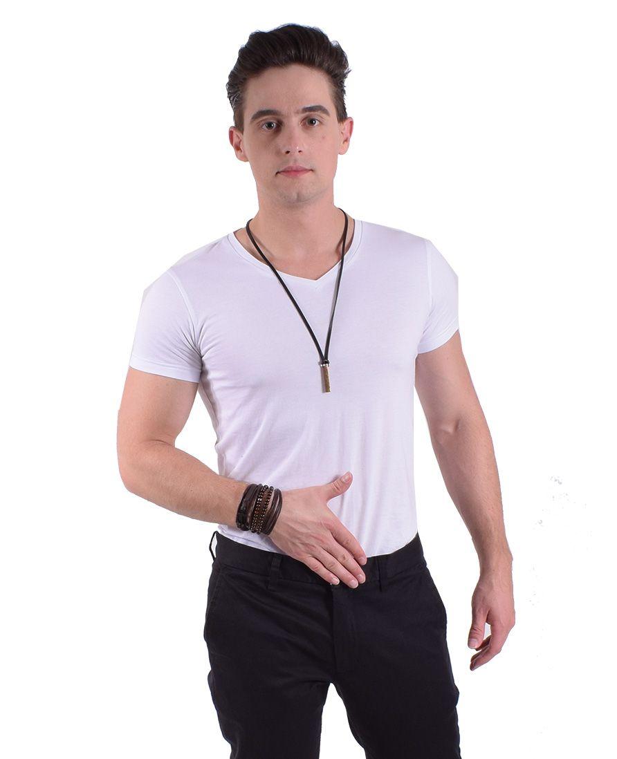 Camiseta Masculina Branca Manga Curta Gola V