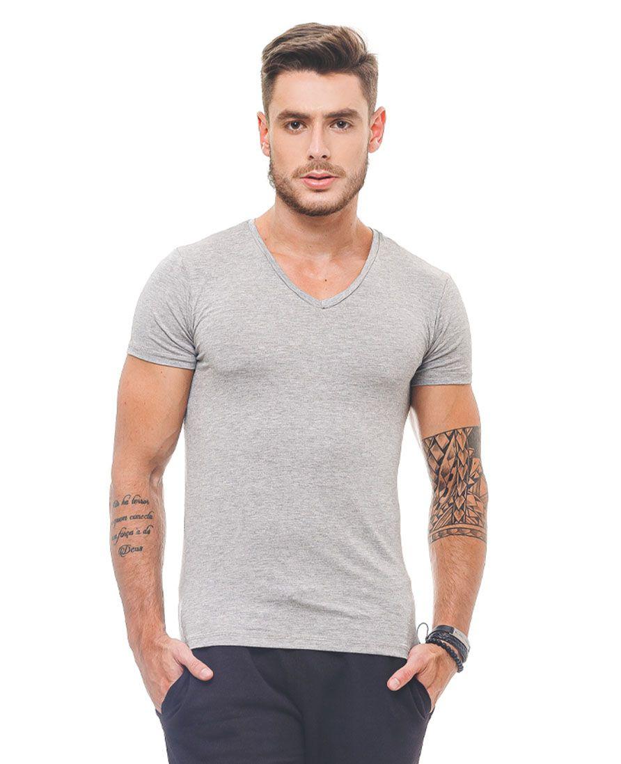 Camiseta Masculina Mescla Manga Curta Gola V