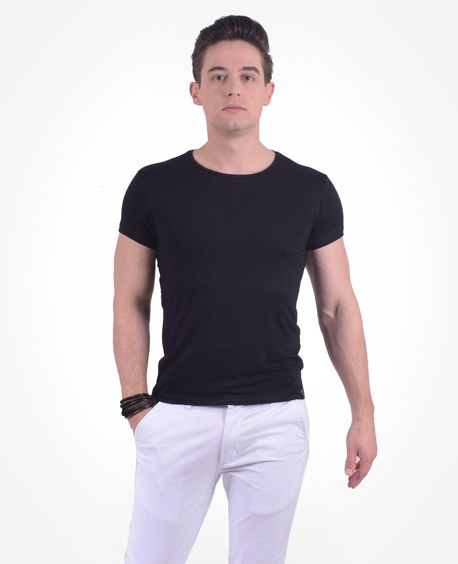 Camiseta Masculina Preta Manga Curta Gola Redonda