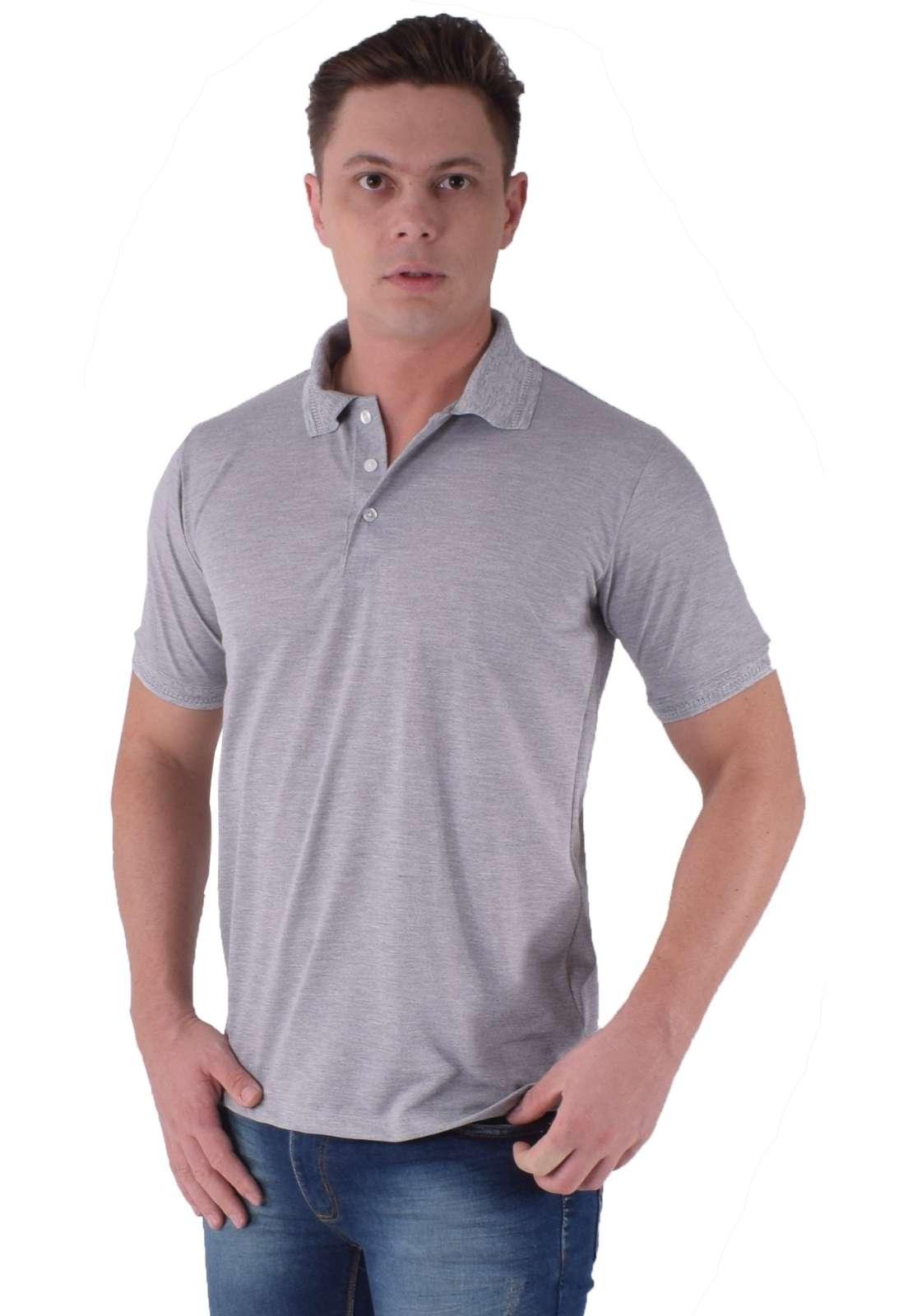 Camisa Polo Cinza Claro