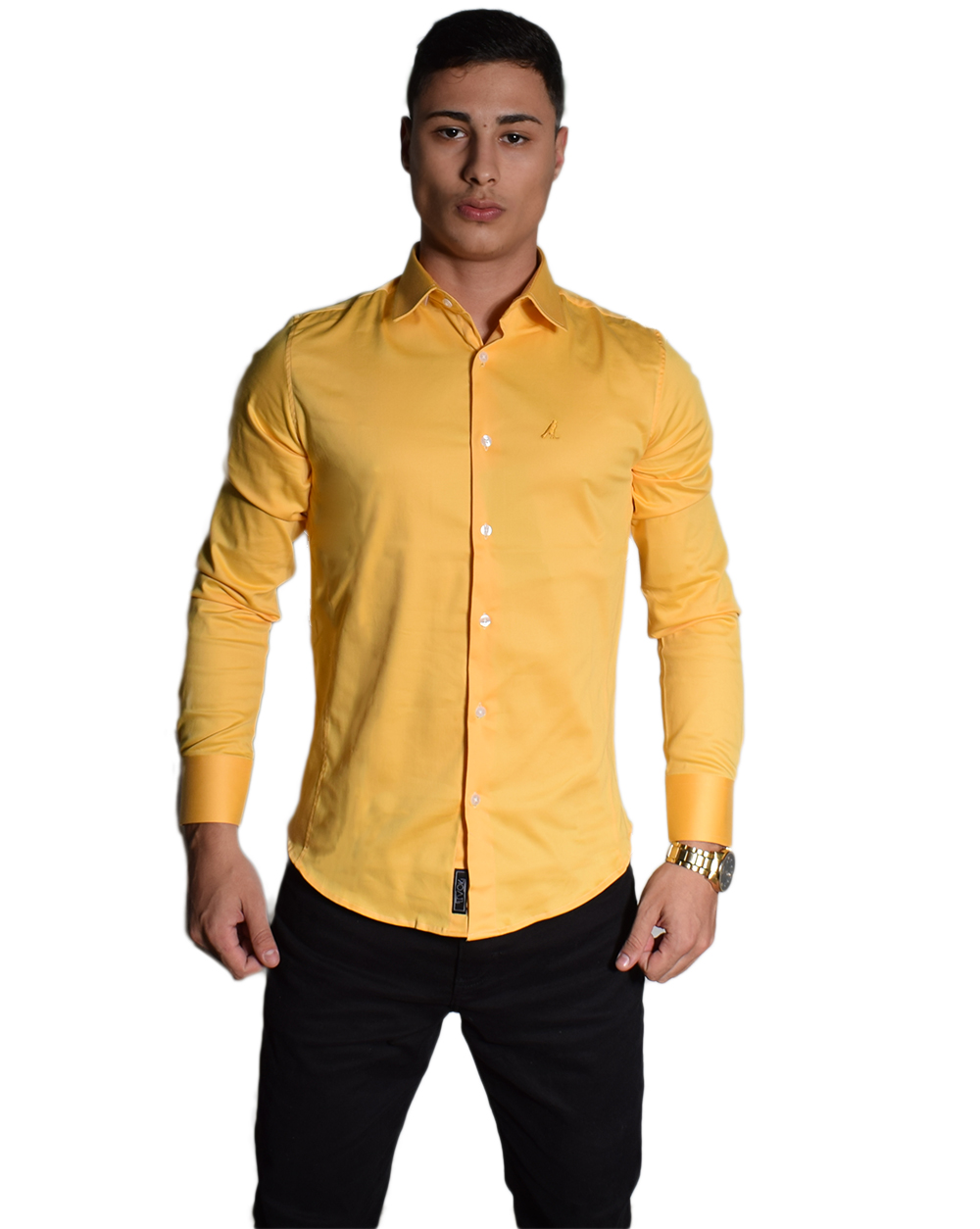 Camisa Social Amarelo Gold Super Slim Masculina