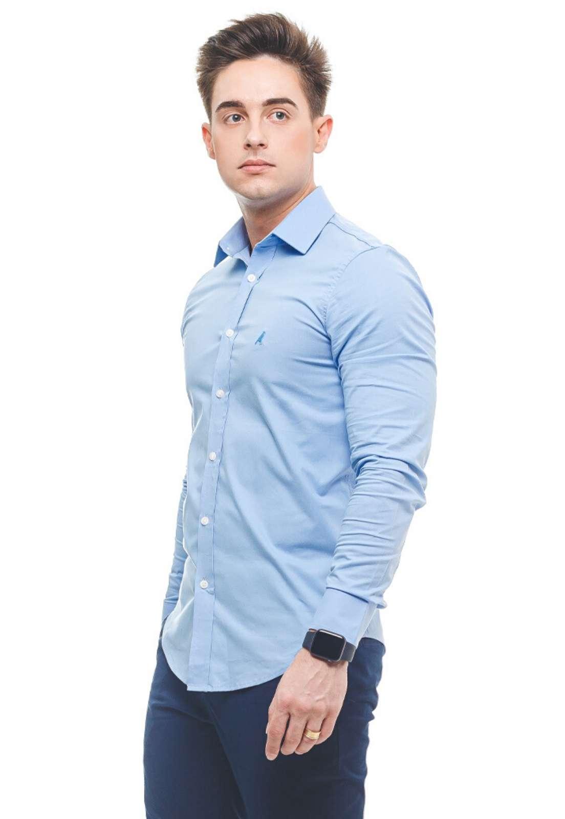 Camisa Social Azul Bebe Masculina