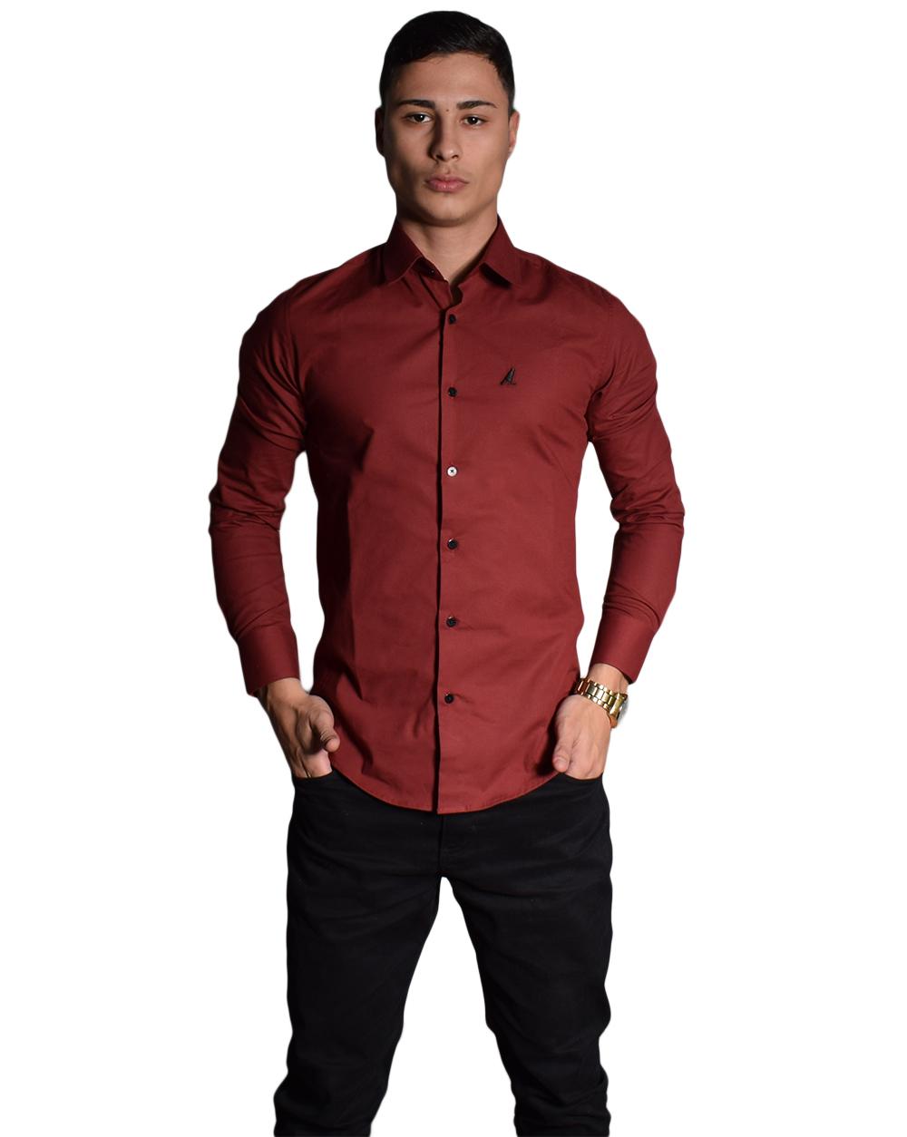 Camisa Social Bordo Masculina Super Slim