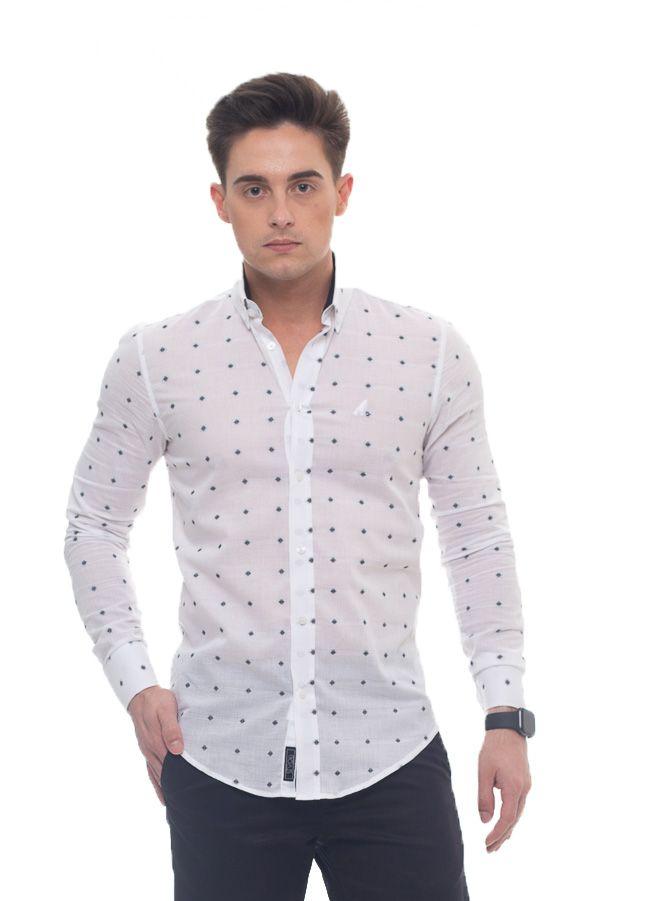 Camisa Social Branca Estampada