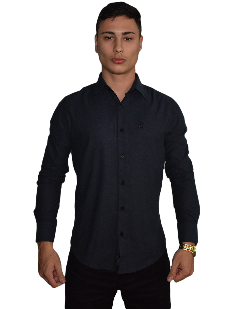Camisa Social Chumbo Super Slim Masculina