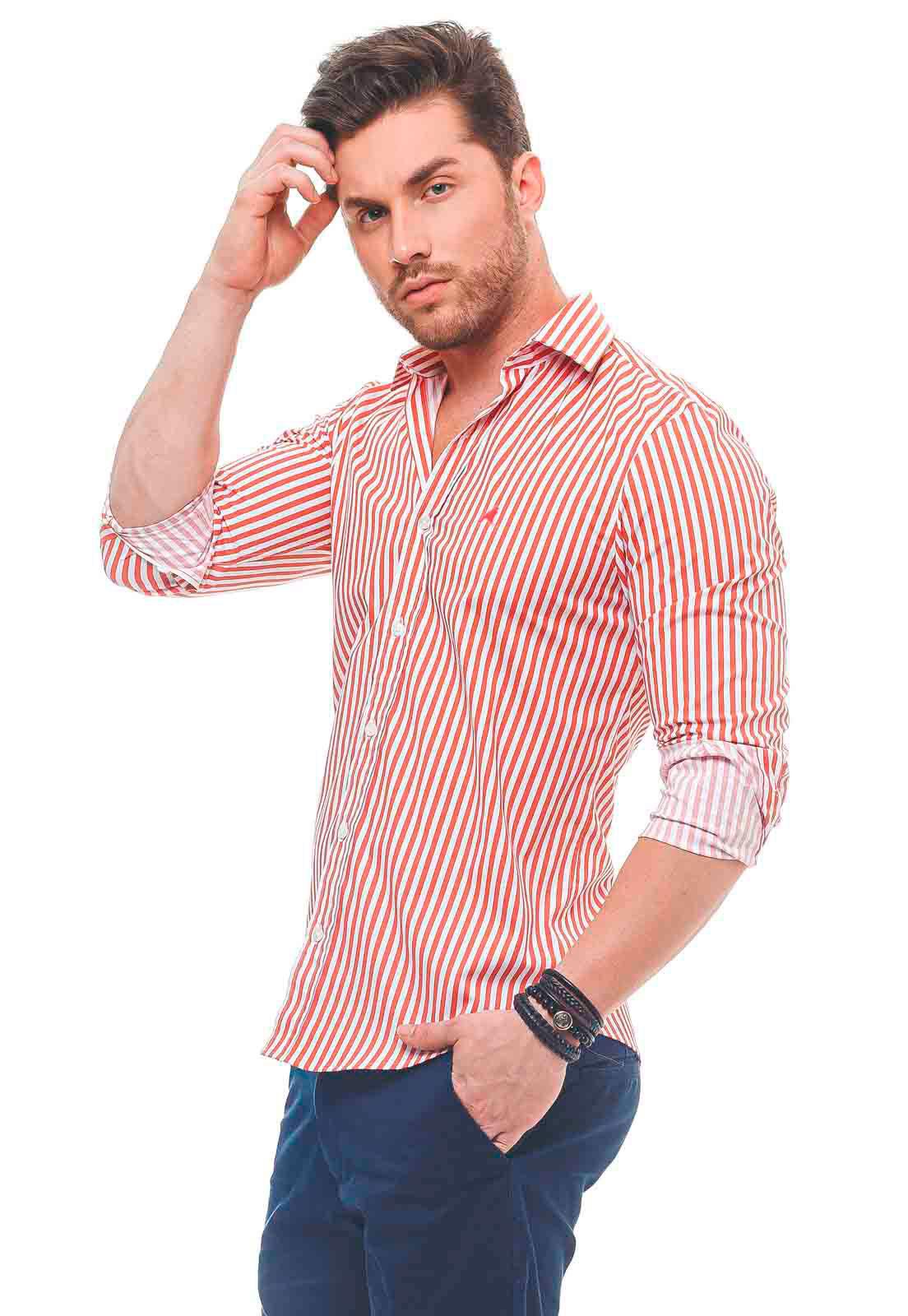 Camisa Social Masculina Slim Listrada