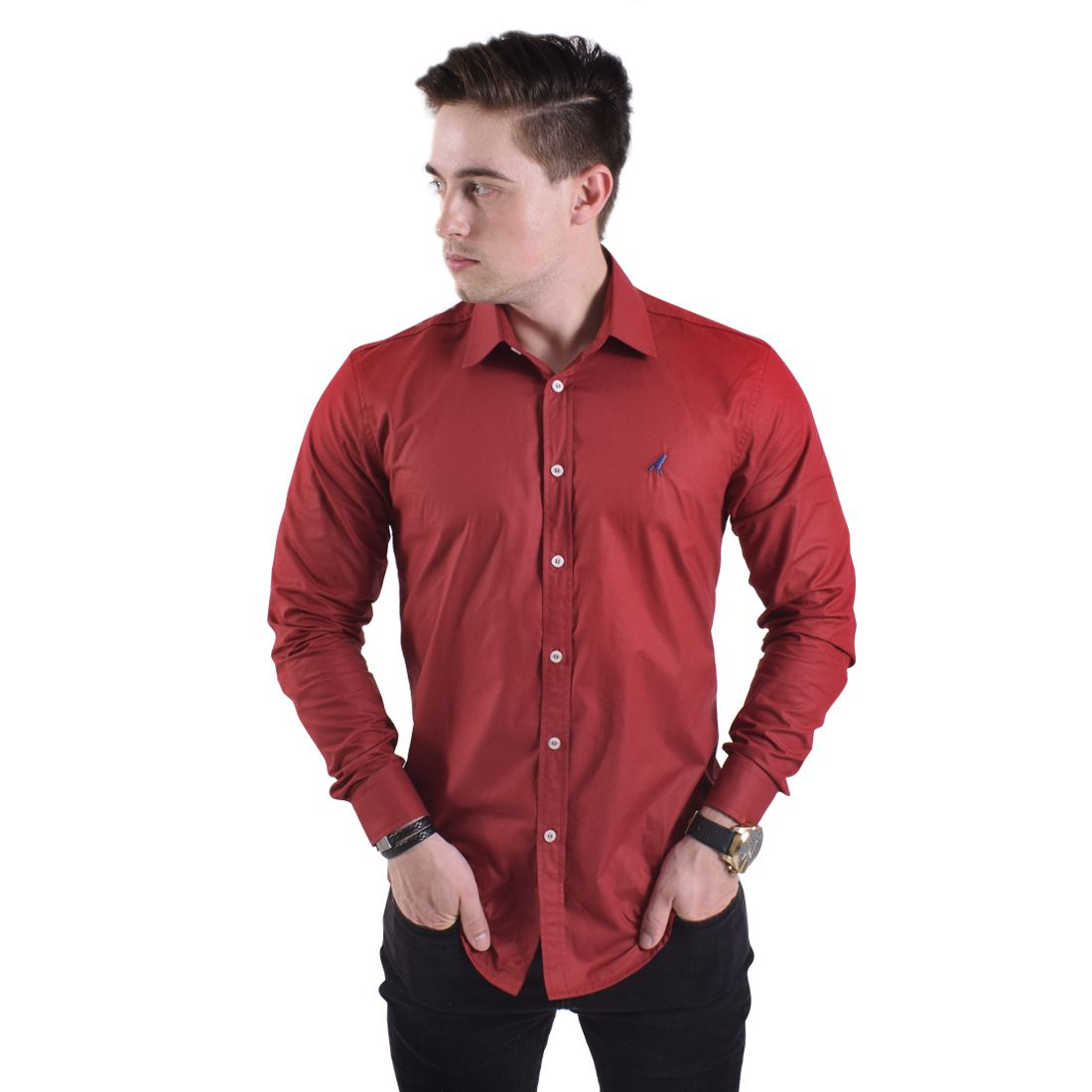 Camisa Social Vermelha Masculina