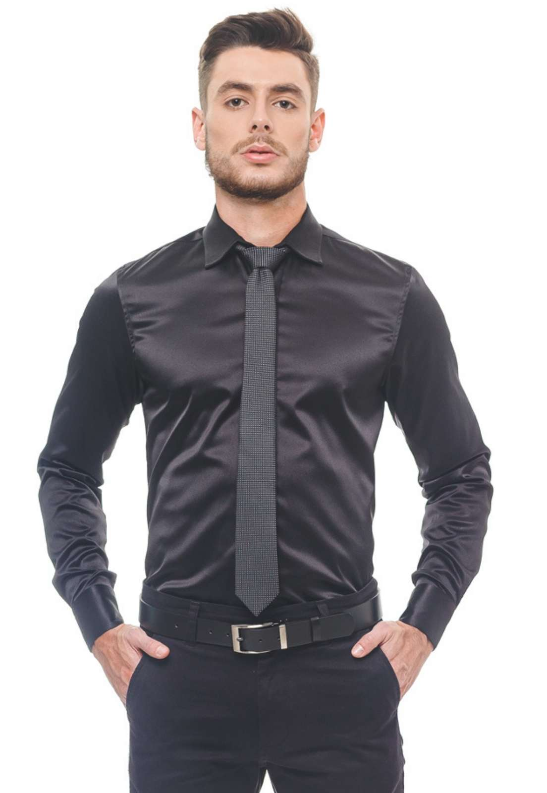 Camisa Social Preta Cetim Masculina