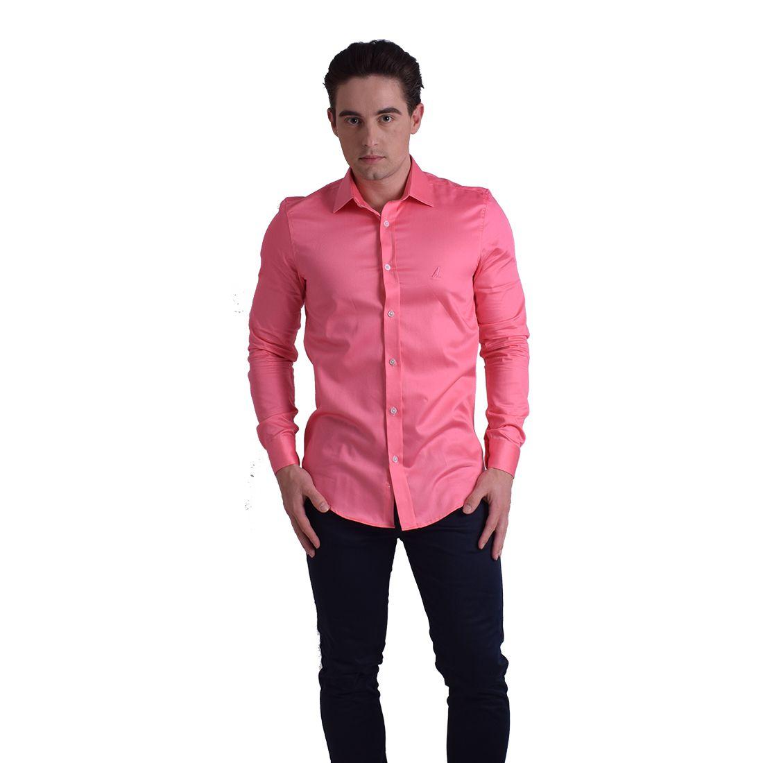 Camisa Social Rosa com Calça Jeans
