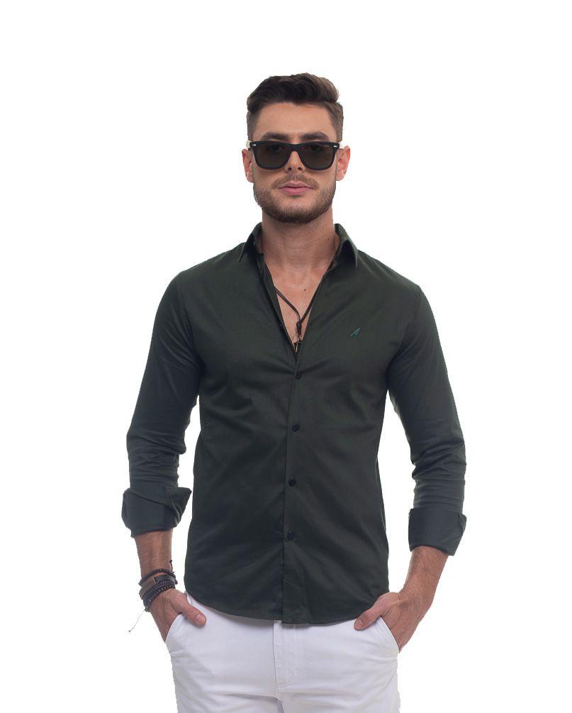 Camisa Social Verde Escuro Super Slim Masculina