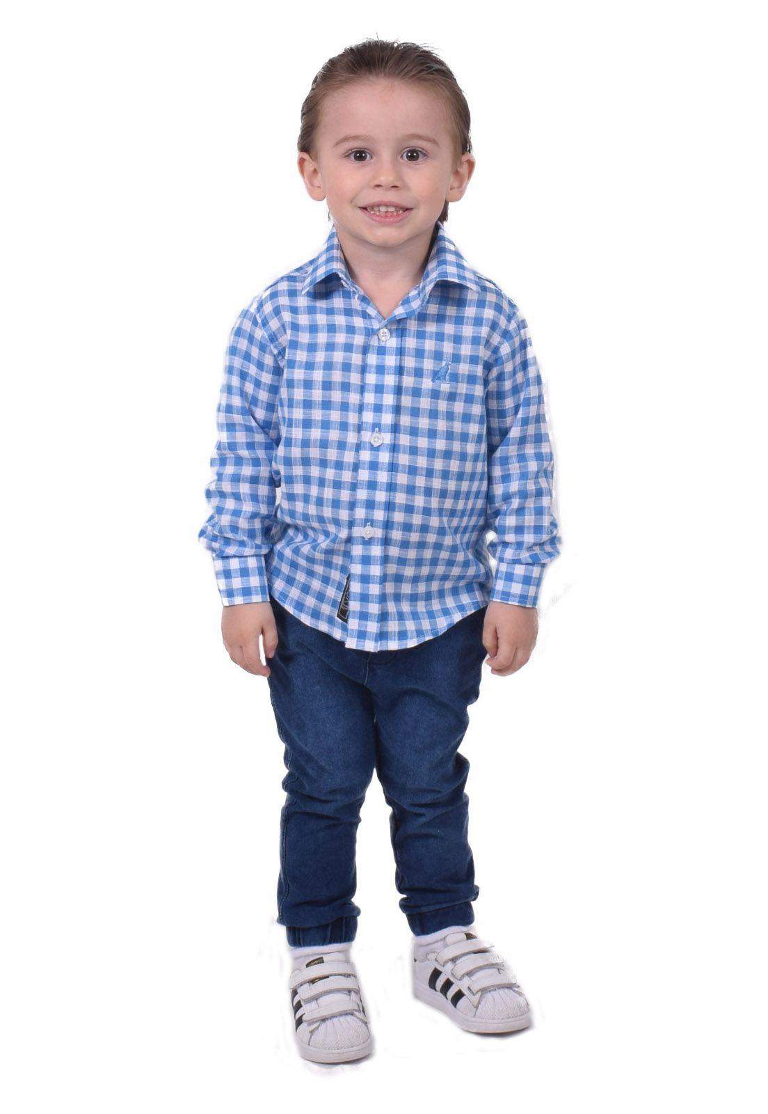 Camisa Social Xadrez Azul e Branca  Infanti Slim
