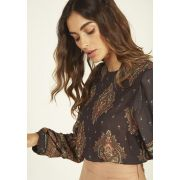 Blusa Cropped Brocado Musseline