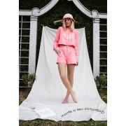 Shorts Moletom Neon Rosa