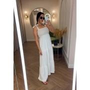 Vestido Longo com Lastex Jasmine Branco