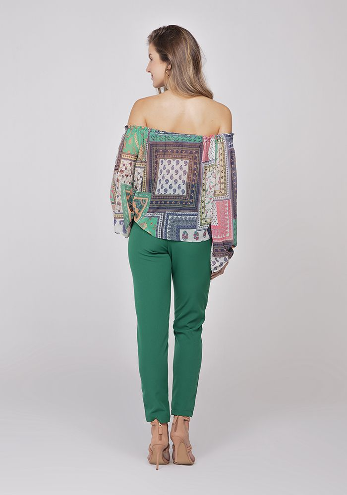 Blusa Ombro A Ombro Musseline Patchwork