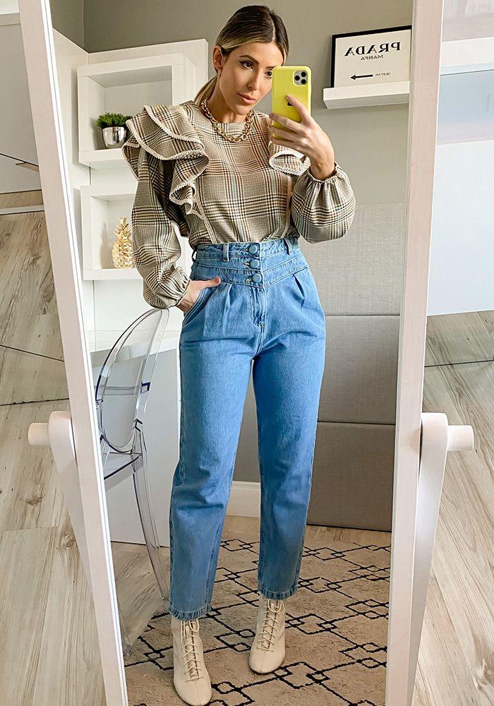 Calça Jeans Botão Forrado