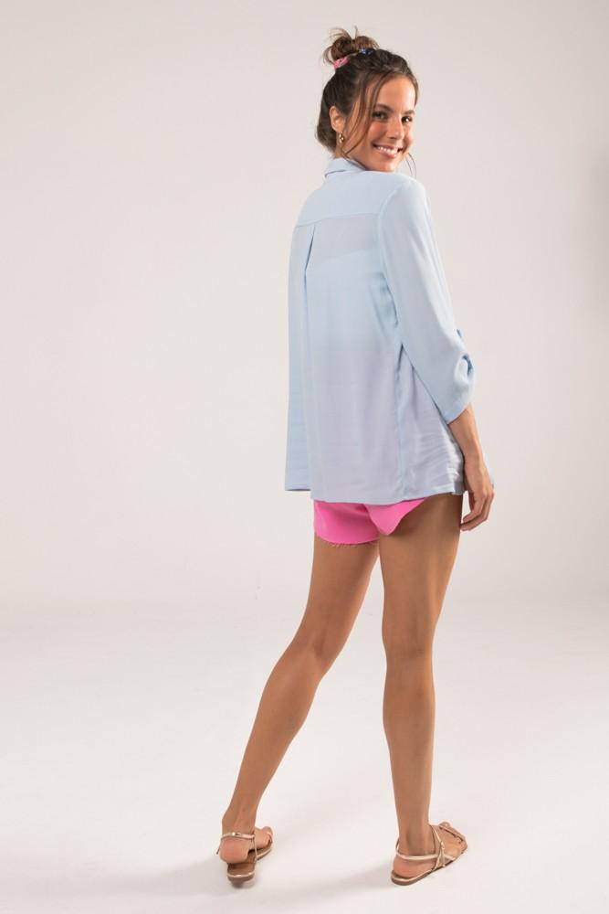 Camisa com Bolso Colors Azul