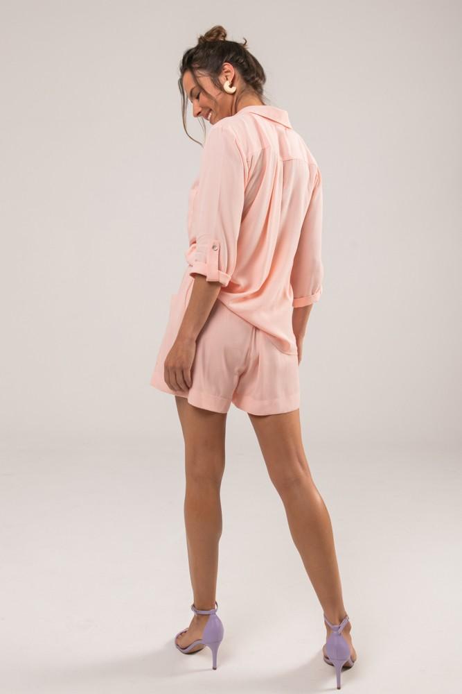 Camisa com Bolso Colors Rosa