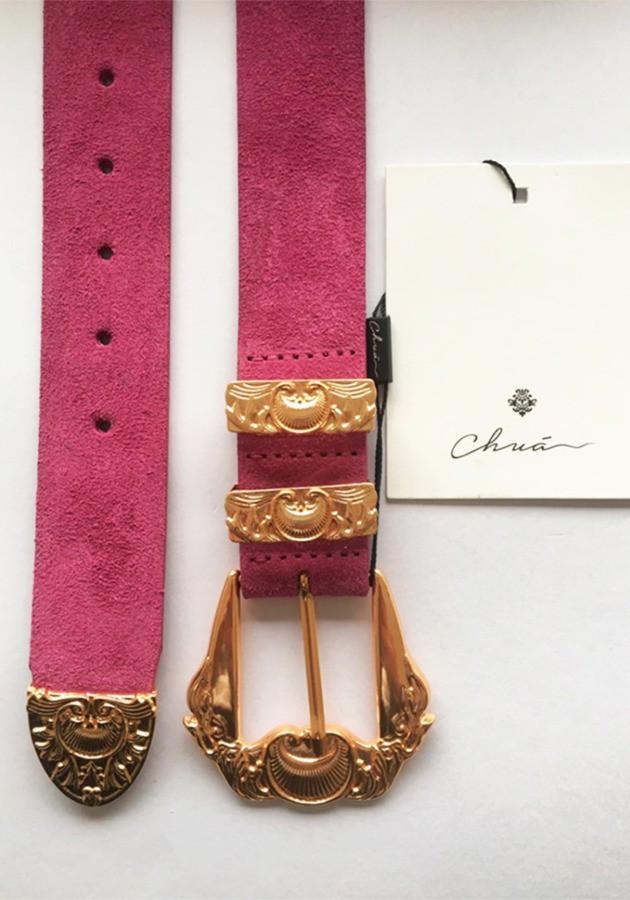Cinto Camurça Pink Fivela Arrebesco G