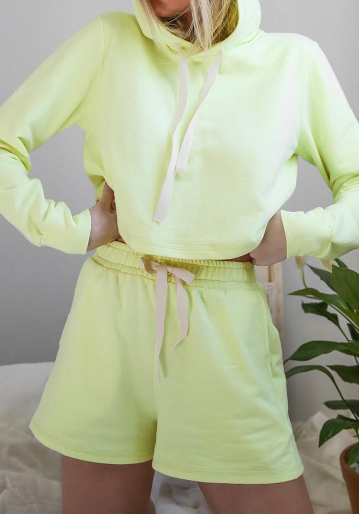 Cropped Moletom Amarelo Neon
