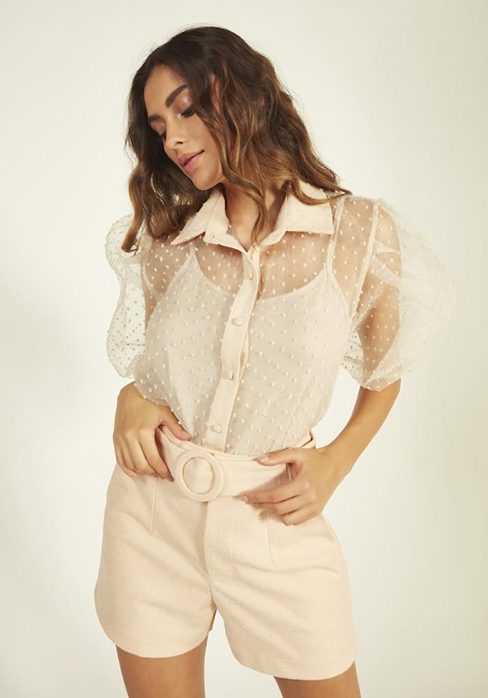 Shorts C/ Fivela Textura Dublada